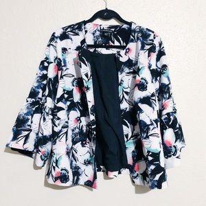 Lane Bryant Floral Open Blazer 3/4 Bell Sleeves